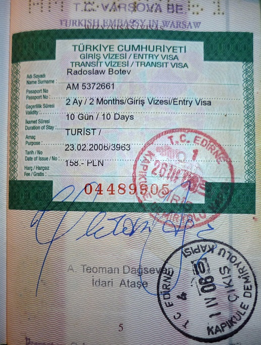 Application for Republic of Turkey