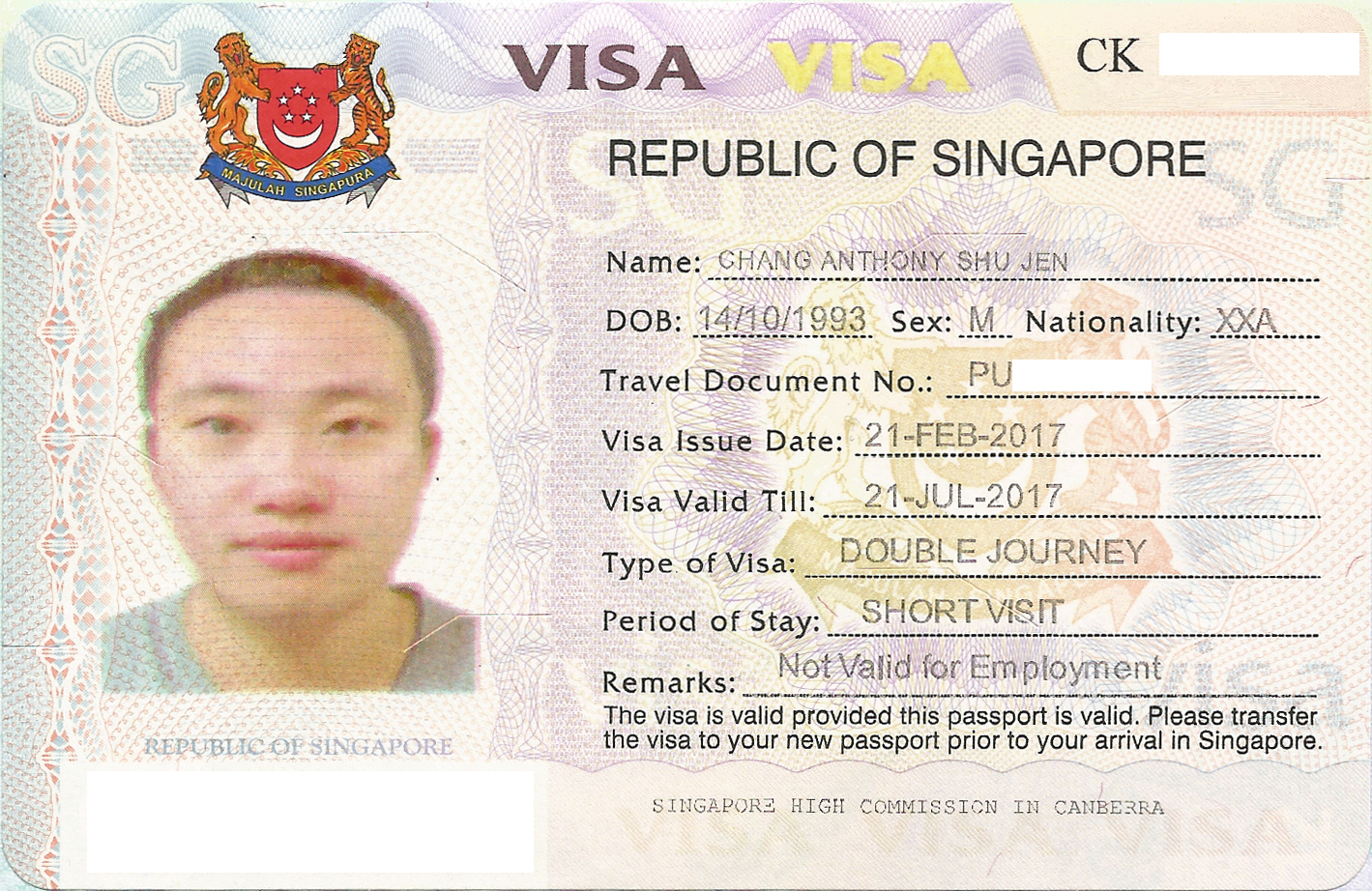 TOURIST Visa Requirements for SINGAPORE